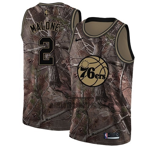 Meilleur Maillot NBA Philadelphia Sixers NO.2 Moses Malone Camo Swingman Collection Realtree 2018