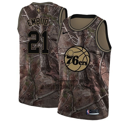 Meilleur Maillot NBA Philadelphia Sixers NO.21 Joel Embiid Camo Swingman Collection Realtree 2018