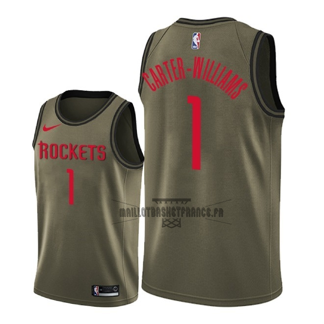 Meilleur Maillot NBA Service De Salut Houston Rockets NO.1 Michael Carter Williams Nike Camo Militaire 2018