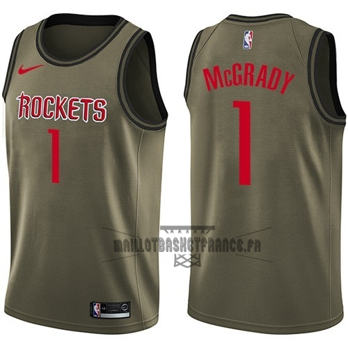 Meilleur Maillot NBA Service De Salut Houston Rockets NO.1 Tracy McGrady Nike Armée verte 2018