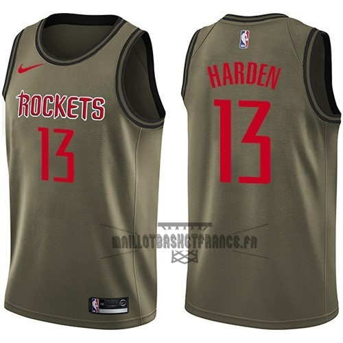 Meilleur Maillot NBA Service De Salut Houston Rockets NO.13 James Harden Nike Armée verte 2018
