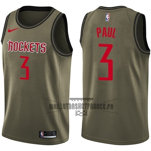 Meilleur Maillot NBA Service De Salut Houston Rockets NO.3 Chris Paul Nike Armée verte 2018