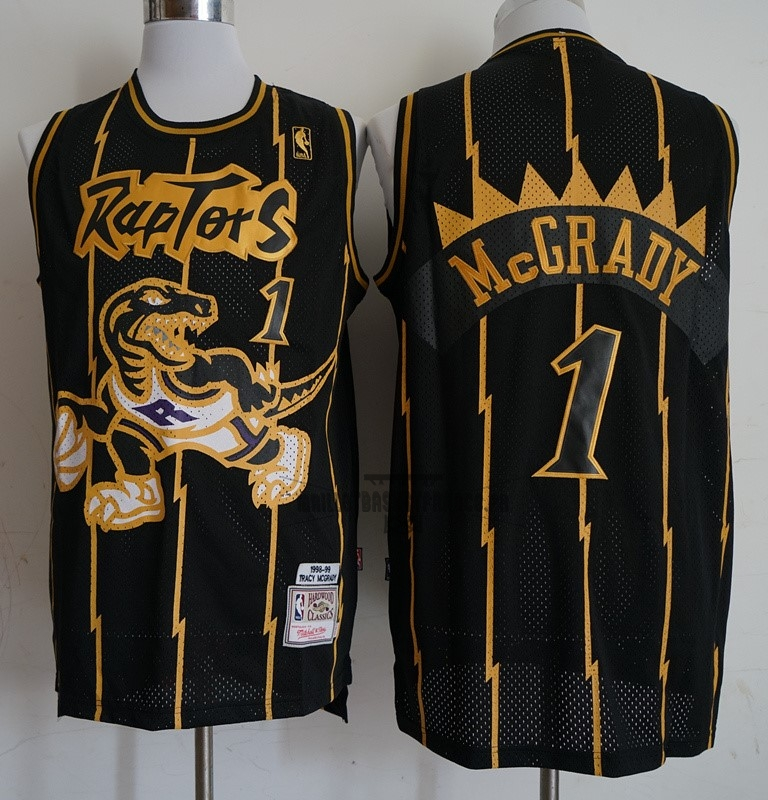 Meilleur Maillot NBA Toronto Raptors NO.1 Tracy McGrady Retro Or Noir 1998-99