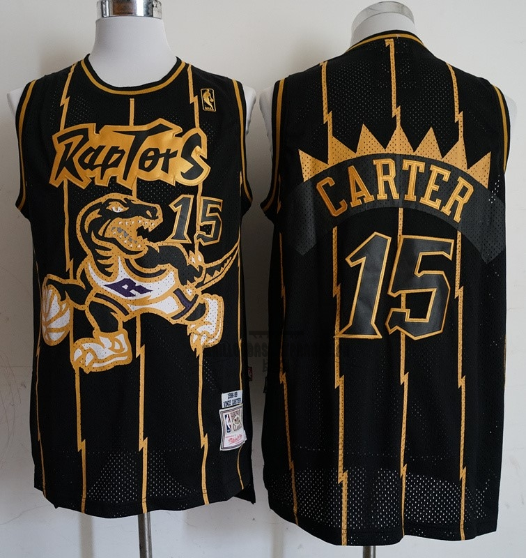 Meilleur Maillot NBA Toronto Raptors NO.15 Vince Carter Retro Or Noir 1998-99