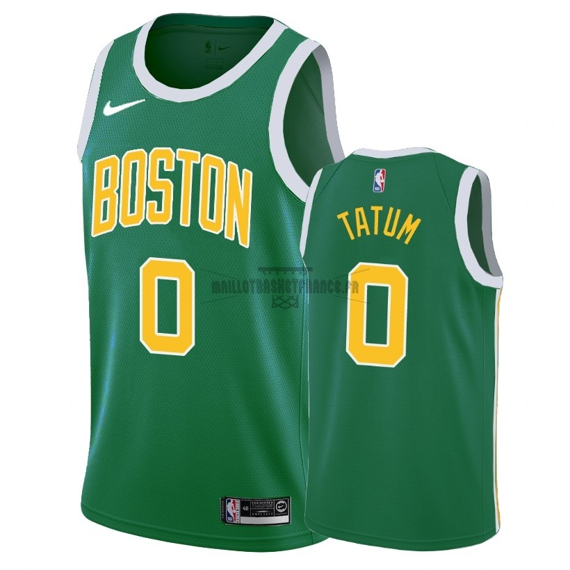 Meilleur Maillot Earned Edition Boston Celtics NO.0 Jayson Tatum Vert 2018-19