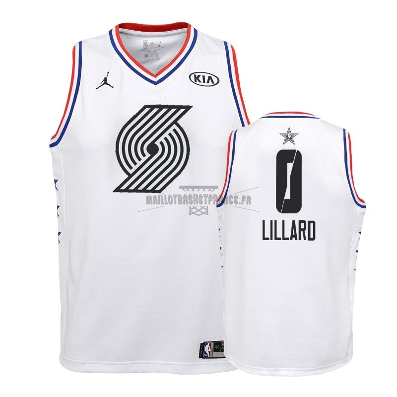 Meilleur Maillot NBA Enfant 2019 All Star NO.0 Damian Lillard Blanc