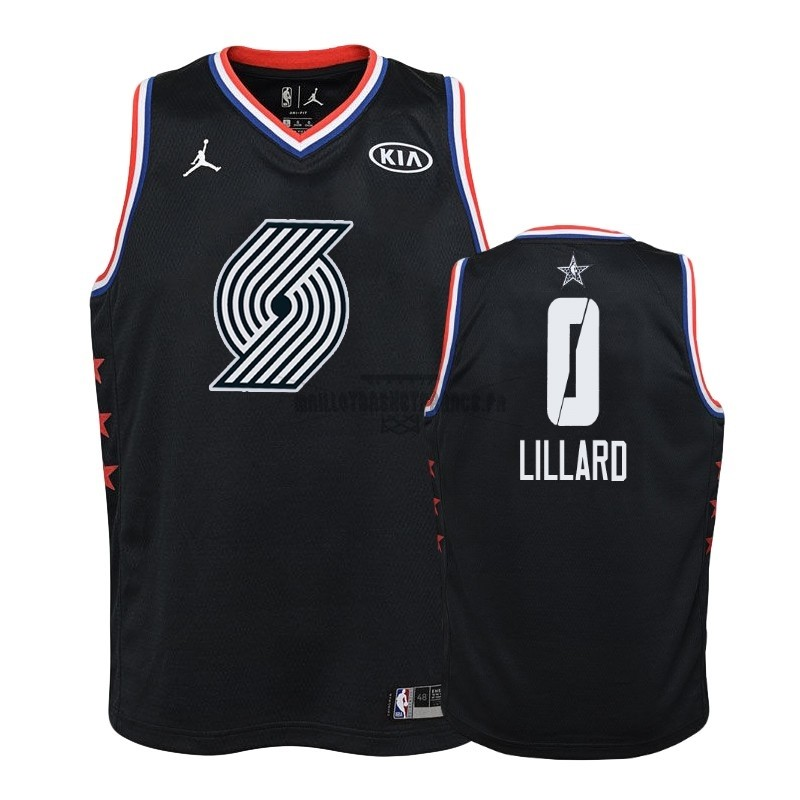 Meilleur Maillot NBA Enfant 2019 All Star NO.0 Damian Lillard Noir