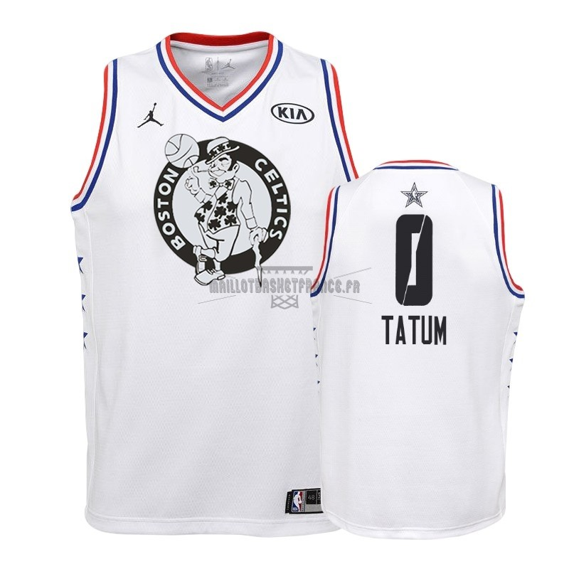 Meilleur Maillot NBA Enfant 2019 All Star NO.0 Jayson Tatum Blanc