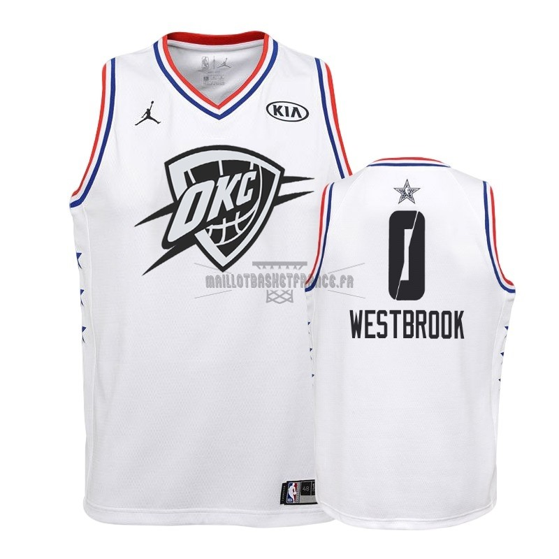 Meilleur Maillot NBA Enfant 2019 All Star NO.0 Russell Westbrook Blanc