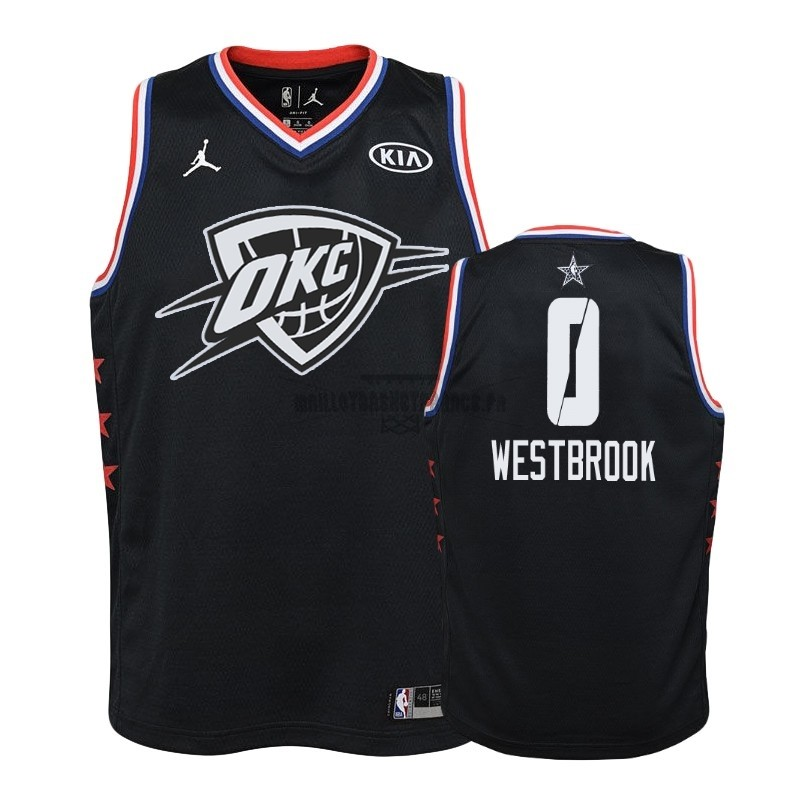 Meilleur Maillot NBA Enfant 2019 All Star NO.0 Russell Westbrook Noir