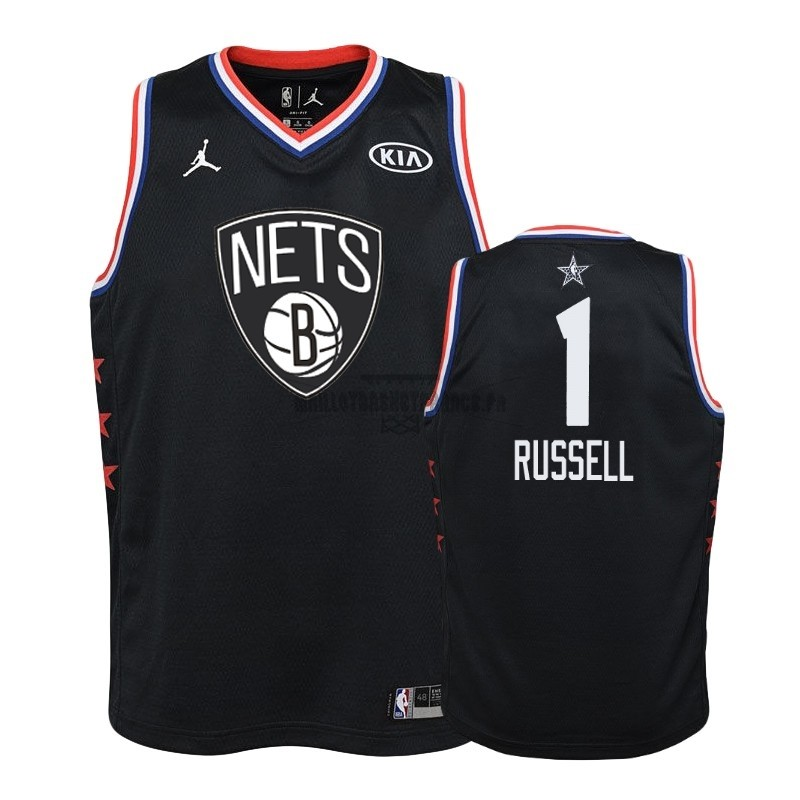 Meilleur Maillot NBA Enfant 2019 All Star NO.1 D'Angelo Russell Noir