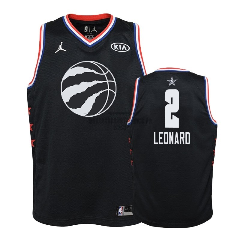 Meilleur Maillot NBA Enfant 2019 All Star NO.2 Kawhi Leonard Noir