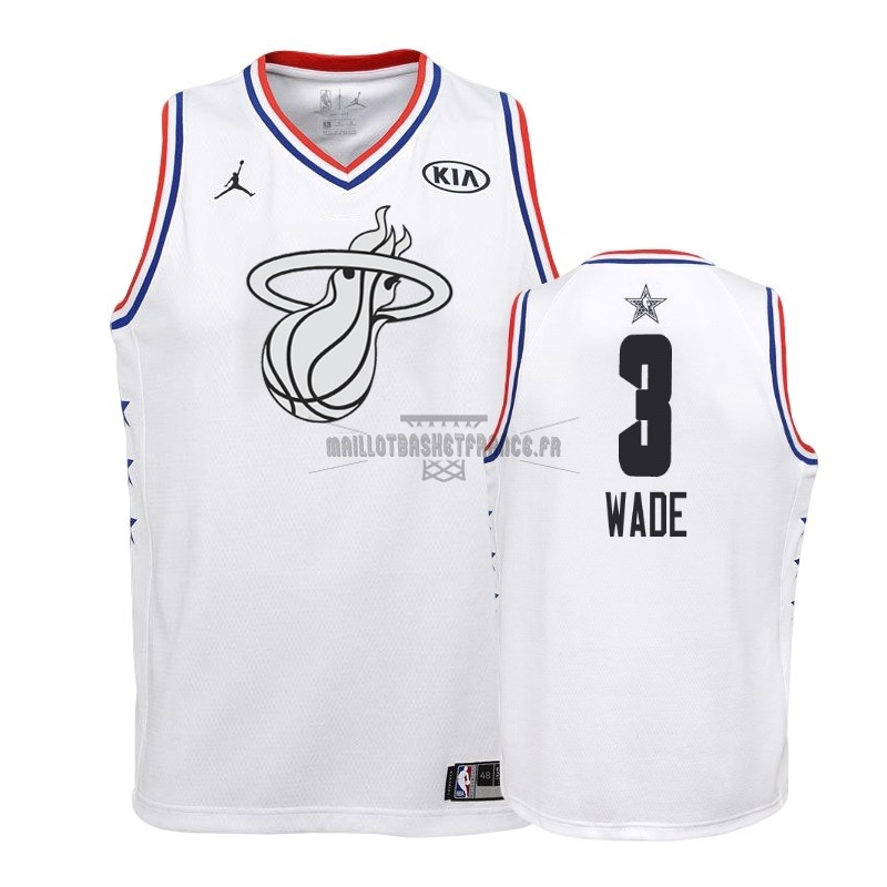 Meilleur Maillot NBA Enfant 2019 All Star NO.3 Dwyane Wade Blanc