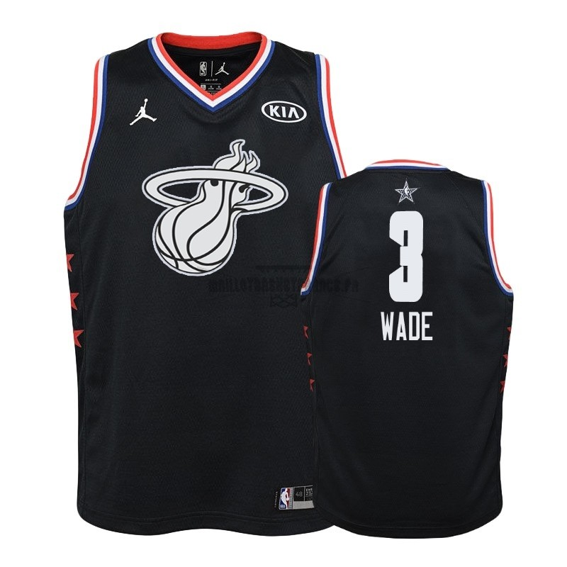 Meilleur Maillot NBA Enfant 2019 All Star NO.3 Dwyane Wade Noir