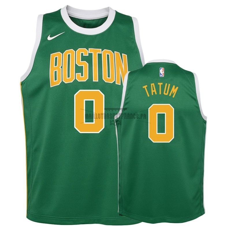 Meilleur Maillot NBA Enfant Earned Edition Boston Celtics NO.0 Jayson Tatum Vert 2018-19