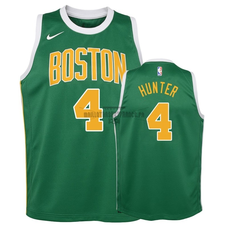 Meilleur Maillot NBA Enfant Earned Edition Boston Celtics NO.4 R.J. Hunter Vert 2018-19