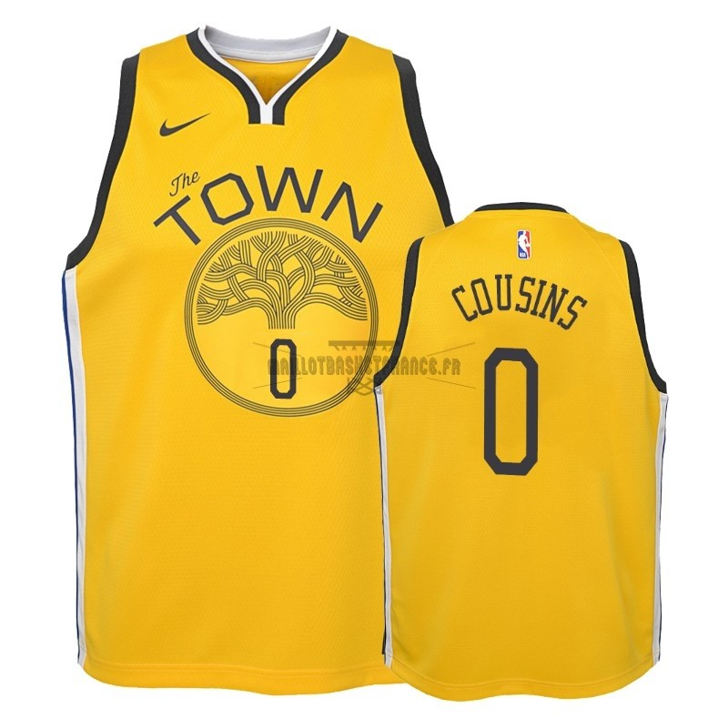 Meilleur Maillot NBA Enfant Earned Edition Golden State Warriors NO.0 DeMarcus Cousins Jaune 2018-19