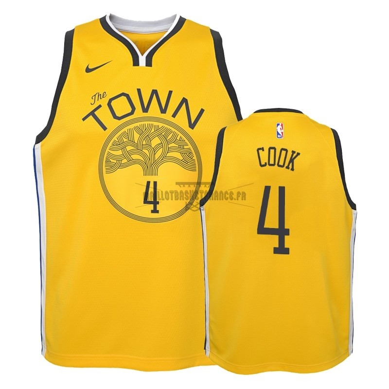 Meilleur Maillot NBA Enfant Earned Edition Golden State Warriors NO.4 Quinn Cook Jaune 2018-19