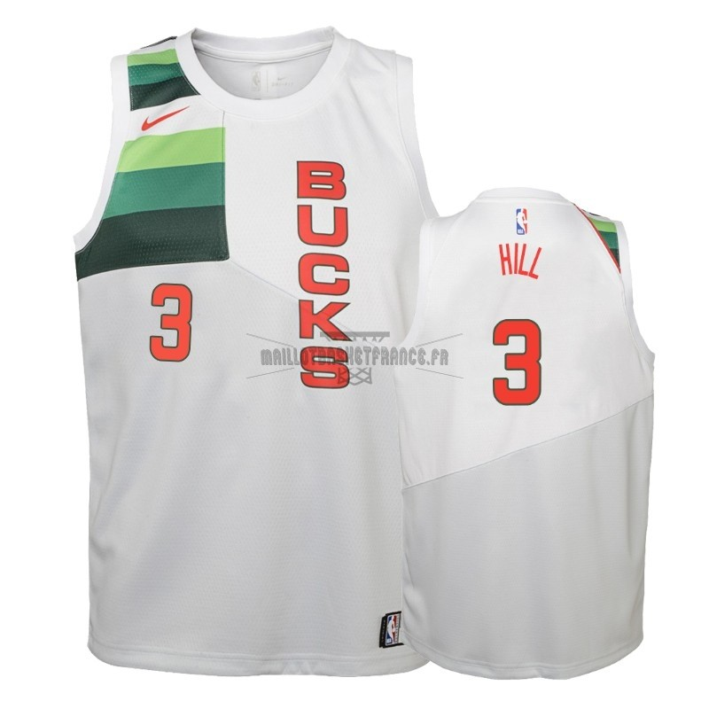 Meilleur Maillot NBA Enfant Earned Edition Milwaukee Bucks NO.3 George Hill Blanc 2018-19