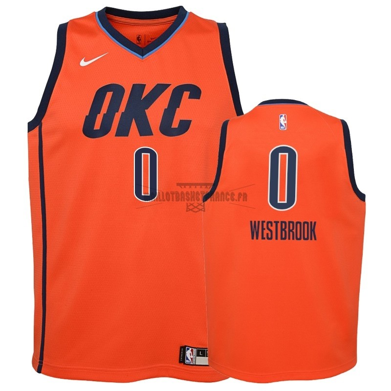 Meilleur Maillot NBA Enfant Earned Edition Oklahoma City Thunder NO.0 Russell Westbrook Orange 2018-19
