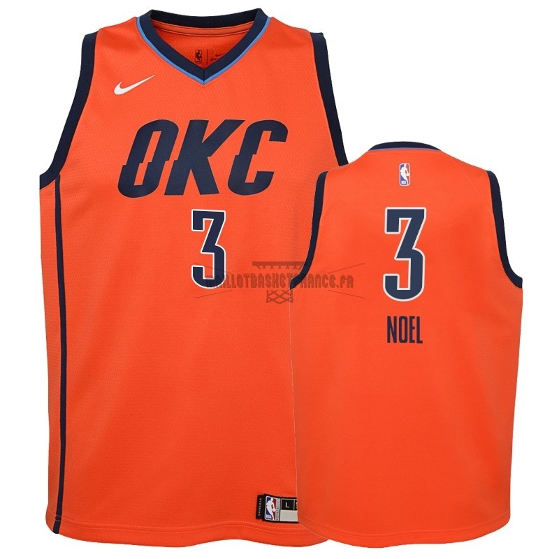 Meilleur Maillot NBA Enfant Earned Edition Oklahoma City Thunder NO.3 Nerlens Noel Orange 2018-19
