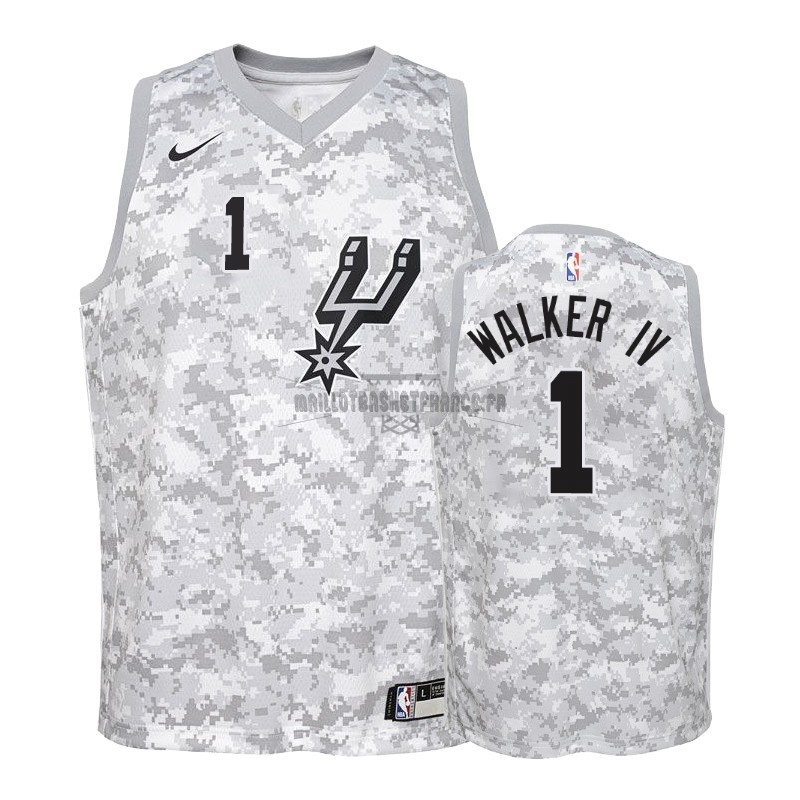 Meilleur Maillot NBA Enfant Earned Edition San Antonio Spurs NO.1 Lonnie Walker Gris 2018-19