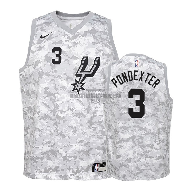 Meilleur Maillot NBA Enfant Earned Edition San Antonio Spurs NO.3 Quincy Pondexter Gris 2018-19
