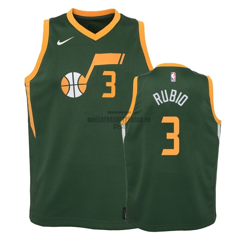 Meilleur Maillot NBA Enfant Earned Edition Utah Jazz 2NO.3 Ricky Rubio Vert 2018-19