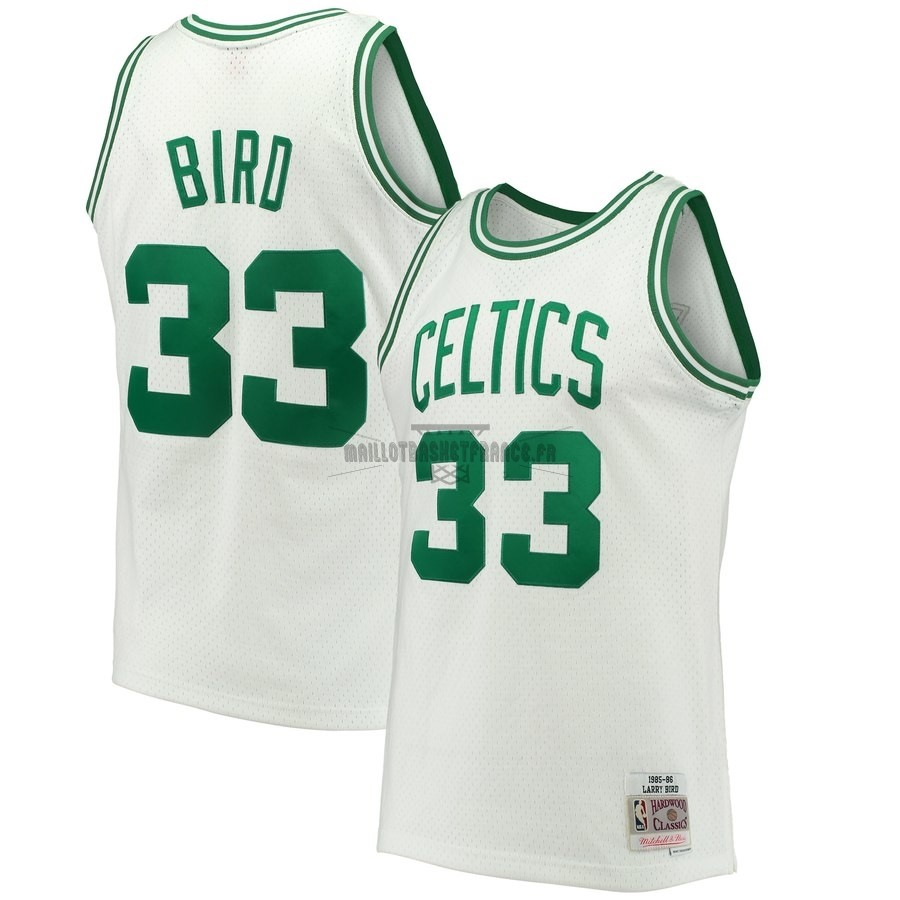 Meilleur Maillot NBA Boston Celtics NO.33 Larry Bird Blanc Hardwood Classics 1985-86