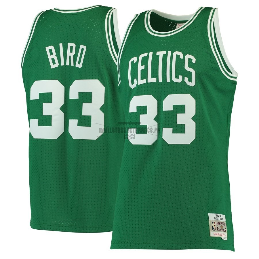 Meilleur Maillot NBA Boston Celtics NO.33 Larry Bird Vert Hardwood Classics 1985-86