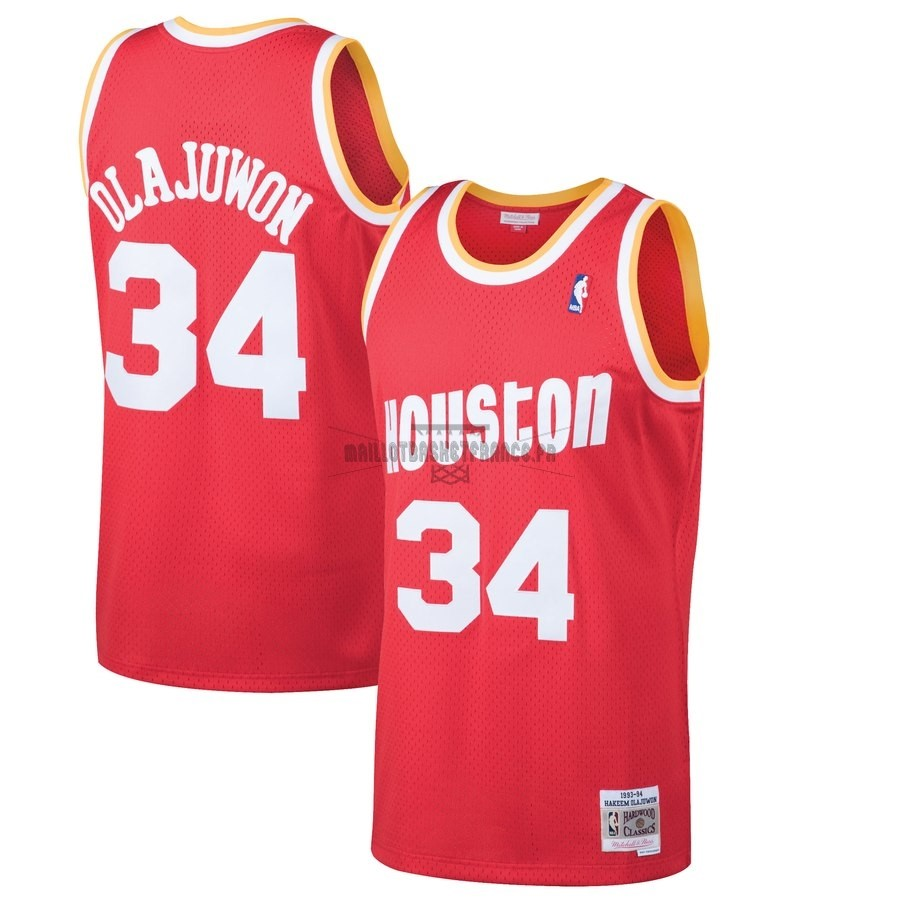 Meilleur Maillot NBA Houston Rockets NO.34 Hakeem Olajuwon Rouge Hardwood Classics 1993-94