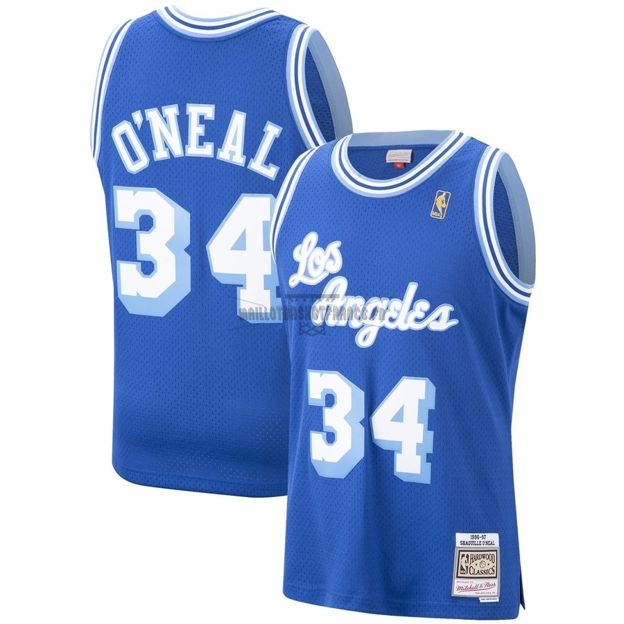 Meilleur Maillot NBA Los Angeles Lakers NO.34 Shaquille O'Neal Bleu Hardwood Classics 1996-97