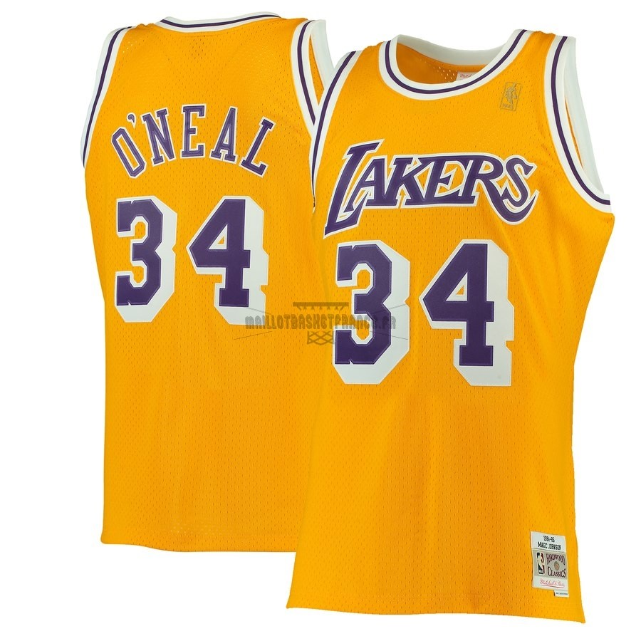 Meilleur Maillot NBA Los Angeles Lakers NO.34 Shaquille O'Neal Jaune Hardwood Classics 1996-97