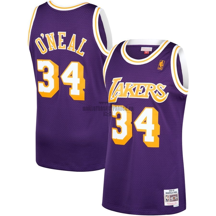 Meilleur Maillot NBA Los Angeles Lakers NO.34 Shaquille O'Neal Pourpre Hardwood Classics 1996-97