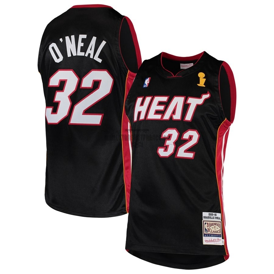 Meilleur Maillot NBA Miami Heat NO.32 Shaquille O'Neal Noir Hardwood Classic 2005-06
