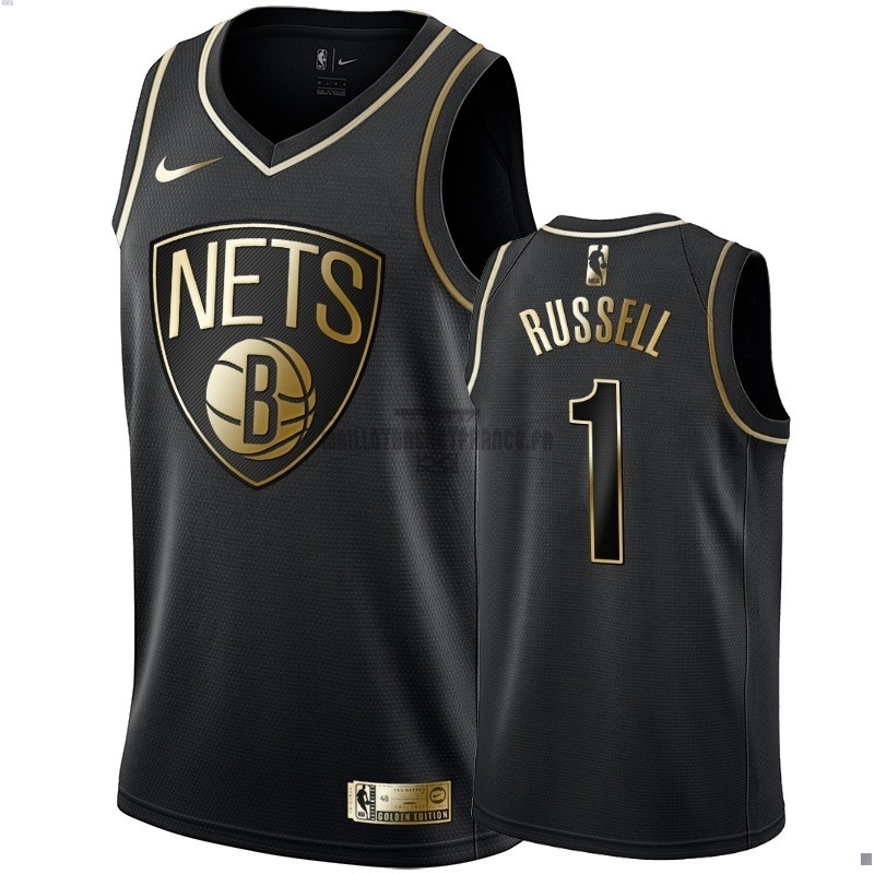 Meilleur Maillot NBA Nike Brooklyn Nets NO.1 D'Angelo Russell Or Edition