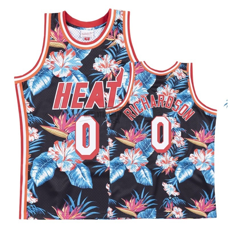 Meilleur Maillot NBA Nike Miami Heat NO.0 Josh Richardson Rouge floral
