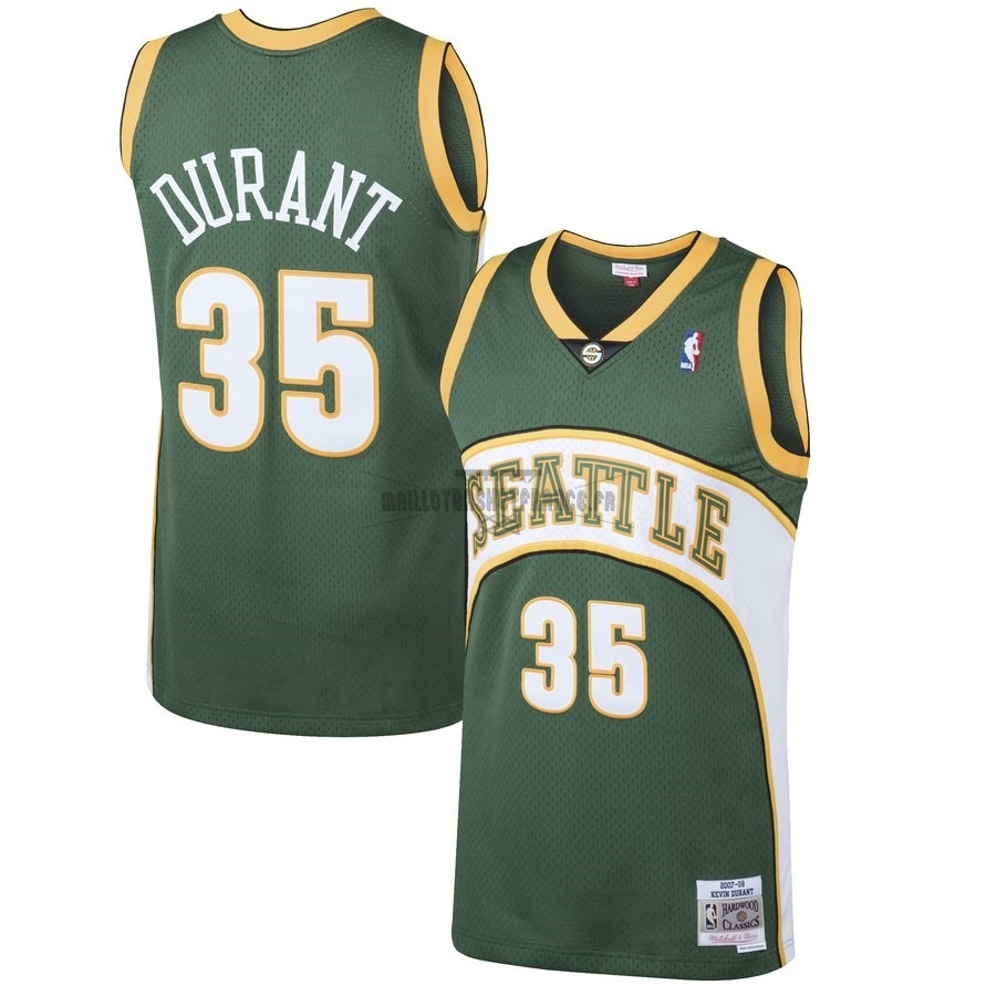 Meilleur Maillot NBA Seattle SuperSonics NO.35 Kevin Durant Vert Hardwood Classic 2007-08