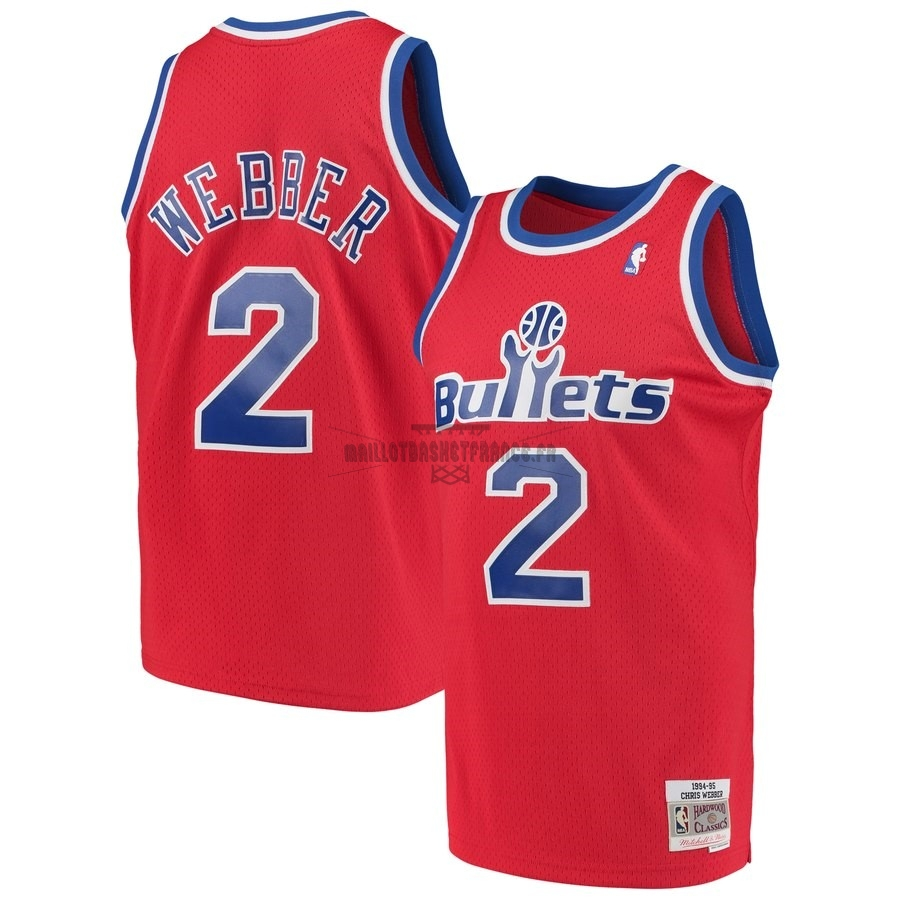 Meilleur Maillot NBA Washington Wizards NO.2 Chris Webber Rouge Hardwood Classics 1994-95