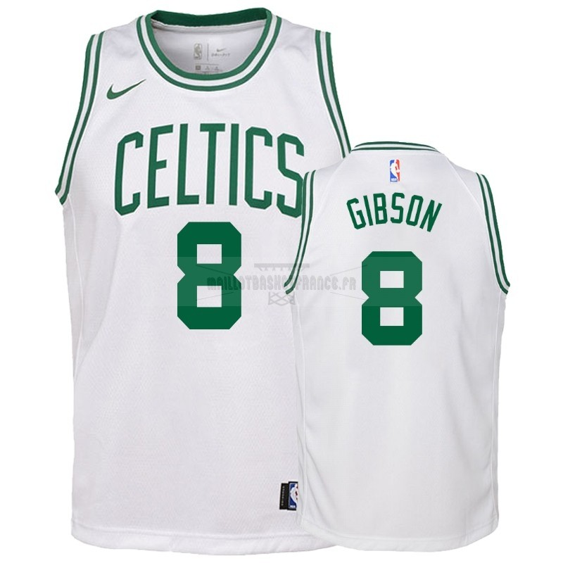 Meilleur Maillot NBA Enfant Boston Celtics NO.8 Jonathan Gibson Blanc Association 2018-19