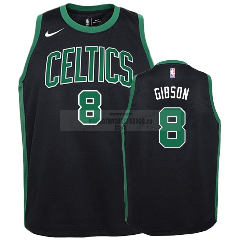 Meilleur Maillot NBA Enfant Boston Celtics NO.8 Jonathan Gibson Noir Statement 2018-19