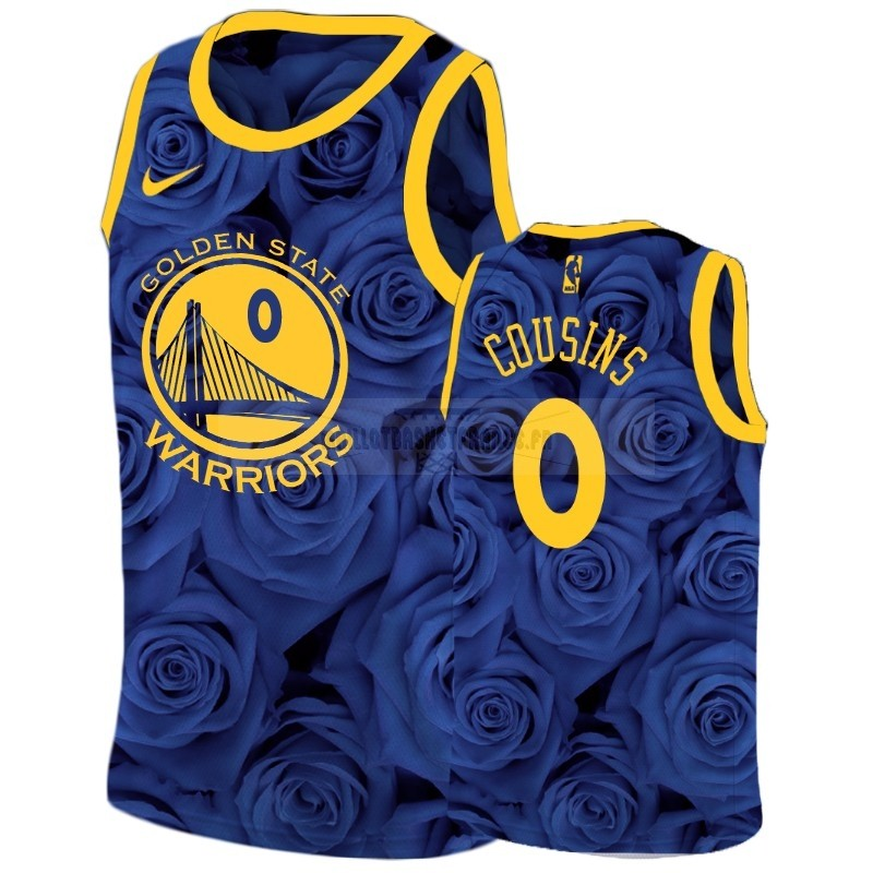 Meilleur Maillot NBA Nike Golden State Warriors NO.0 Demarcus Cousins Marine