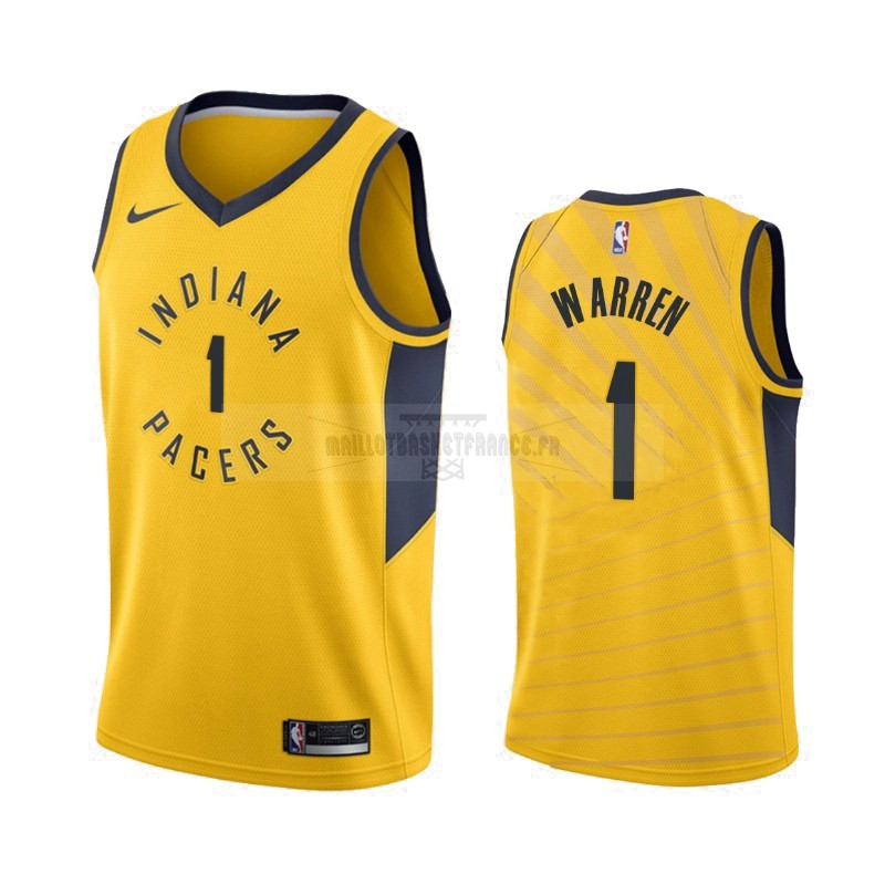 Meilleur Maillot NBA Nike Indiana Pacers NO.1 T.J. Warren Gray Jaune Statement 2019-20