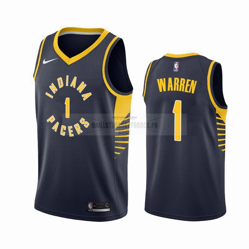 Meilleur Maillot NBA Nike Indiana Pacers NO.1 T.J. Warren Gray Marine Icon 2019-20