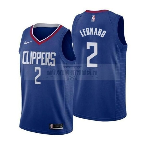 Meilleur Maillot NBA Nike Los Angeles Clippers NO.2 Kawhi Leonard Bleu Icon 2019-20