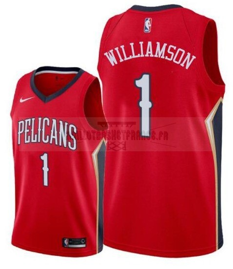 Meilleur Maillot NBA Nike New Orleans Pelicans NO.1 Zion Williamson Rouge 2019-20