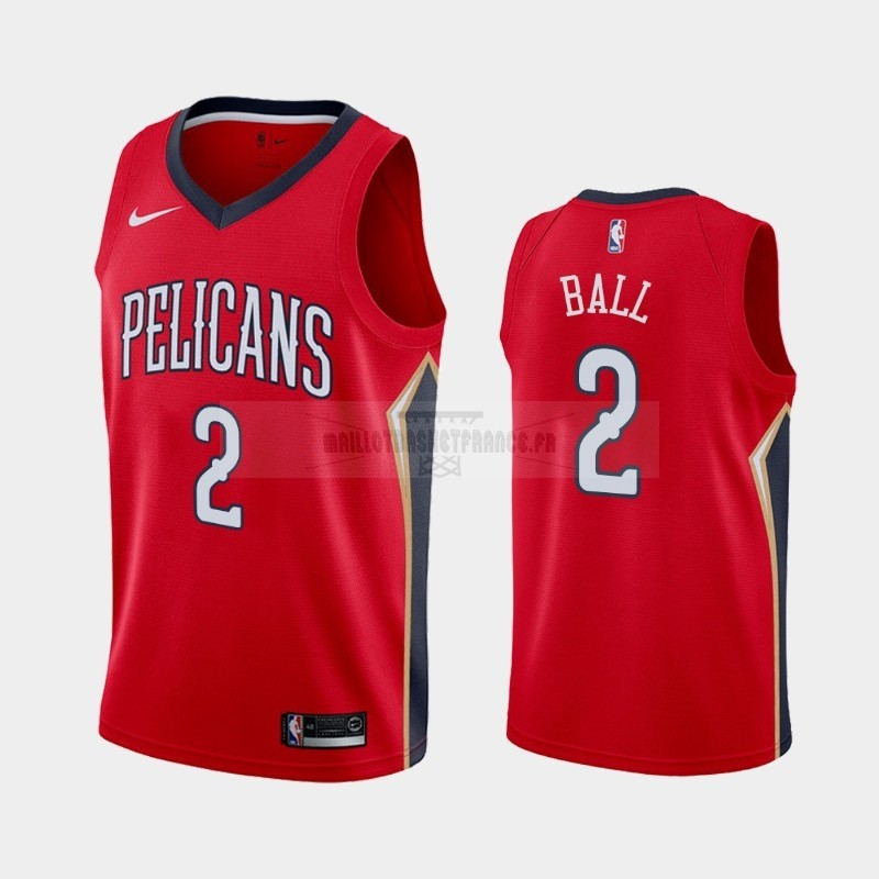Meilleur Maillot NBA Nike New Orleans Pelicans NO.2 Lonzo Ball Rouge Statement 2019-20