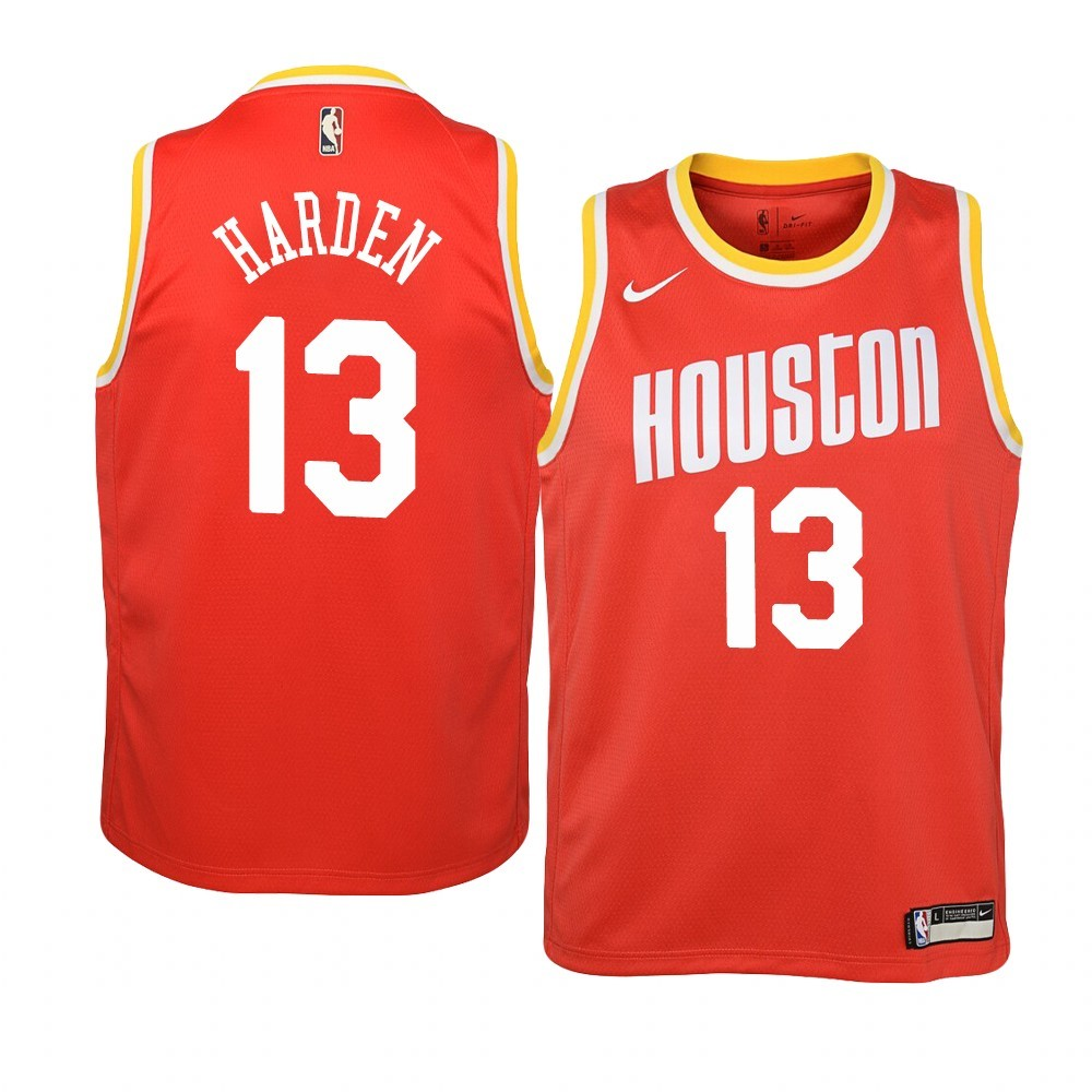 Maillot NBA Houston Rockets NO.13 James Harden Orange Hardwood Classics 2019-20
