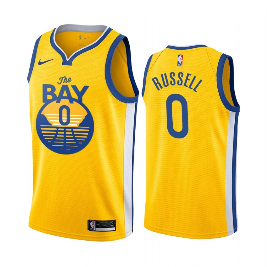 Maillot NBA Nike Golden State Warriors NO.0 D'Angelo Russell Jaune Ville 2019-20