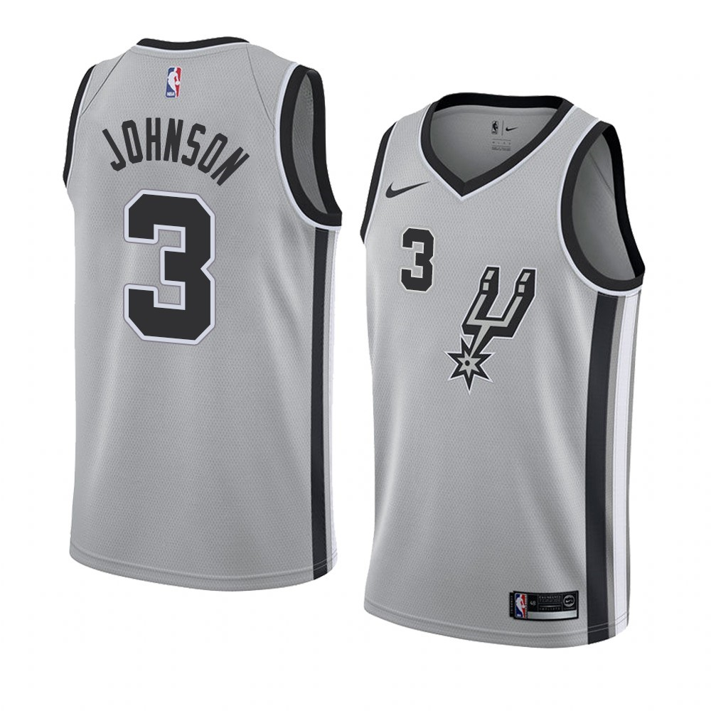 Maillot NBA Nike San Antonio Spurs NO.3 Keldon Johnson Gris Statement 2019-20